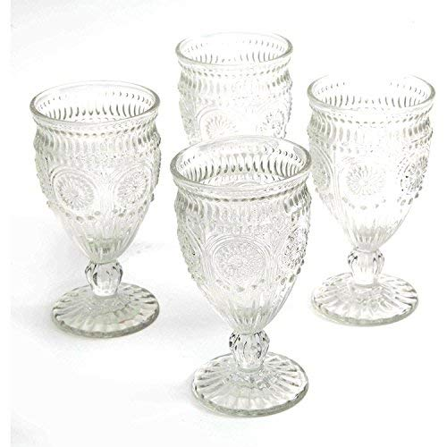 The Pioneer Woman Adeline Embossed 12-Ounce Clear Footed Glass Goblets, Set of 4