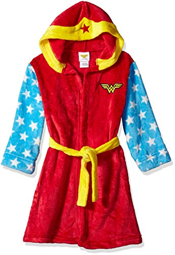 Wonder Woman Girls' Big WW Hooded Robe, red, Medium
