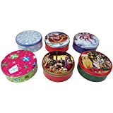 The Tin Box Company 972987-6DS Holiday Round 2 lb. Cookie Tins