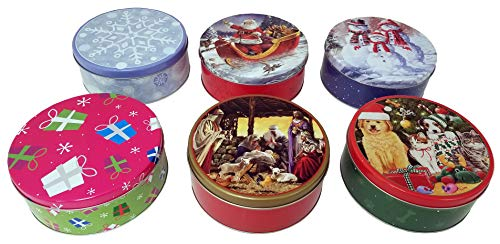 - 6 Pack Holiday Round 2 Lb Cookie Tins