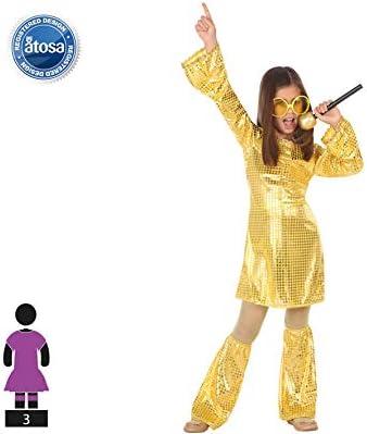 Atosa-56903 Disfraz Disco, Color Dorado, 10 a 12 años (56903 ...