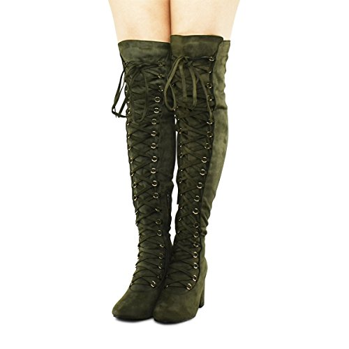 Premier Standard Damen Lace-Overknee-Overknee-Stiefel - Seitlicher Reißverschluss Comfy Vegan Suede Premier Olive Su