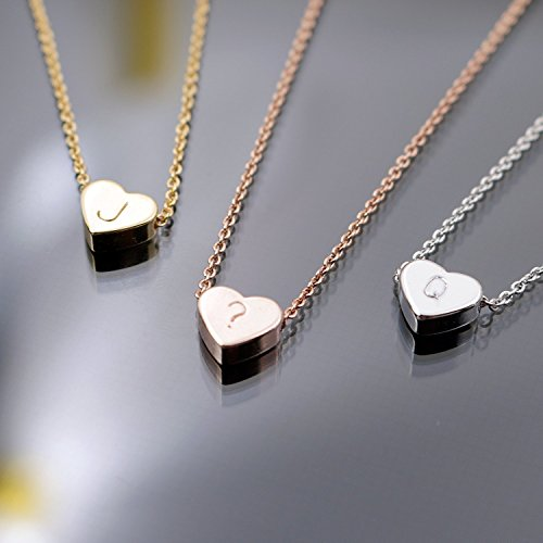 Heather Moore Charm Necklace (A Tiny Heart Initial Necklace - 16K Gold or Silver -Plated Dainty Hand stamped Delicate Initial Charms Personalized Heart Necklace Bridesmaid or Wedding)