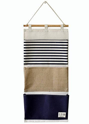 Over the Door Organizer Wall Closet Hanging Storage Bag Multilayer Linen Fabric Pouch Debris (Blue,11.8x25.1In)