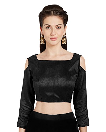 Women's Black Art Silk Readymade Saree Blouse Choli Cold Shoulder Mirchi Fashion