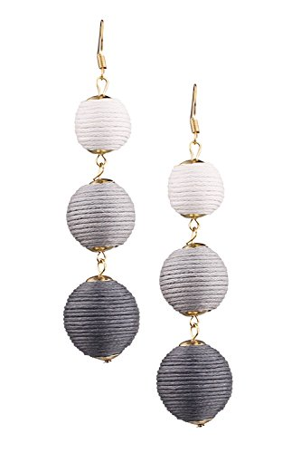 Mina Gold Triple Tier Woven Ball Drop Shoulder Duster Statement 3.8 Inch Long Drop Ombre White Gray Earring
