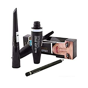 Cosmac Professional Combo Waterproof Eyeliner, Mascara, Eyebrow Pencil, Kajal With Sketch Eyeliner In Black And 1 Pair…