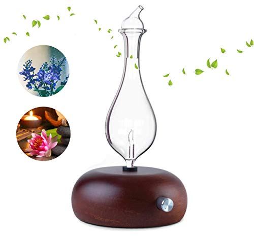 7 CHARKA ASTROLOGY Nebulizing Pure Aromatherapy Essential Oil Diffuser, Premium Waterless Glass Reservoir & Natural Wood Base, No Plastic & No Heat, Safe for Kids & Adults, Great for Large Rooms