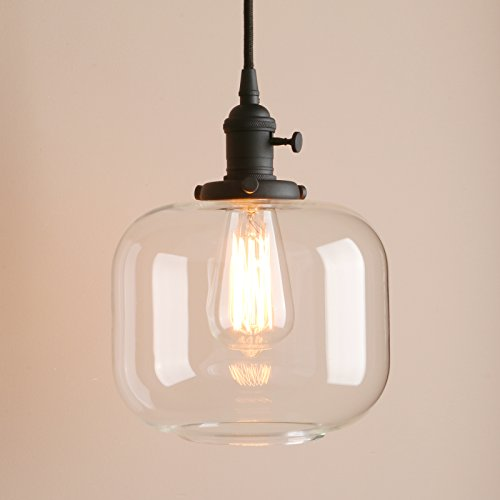 """Pathson Rustic Retro Bottle Glass Shade Style Pendant Light Dia 7.9"""" with Metal Base Cap and Adjustable Textile Cord Opening Hanging Lamp Downlight Flush Mount Ceiling Light Fixtures (Black) (Lighting Bottle Glass)"""