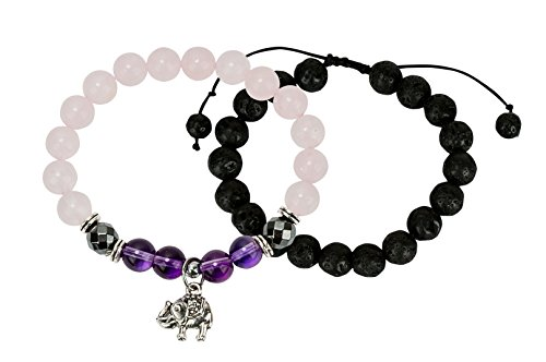 SPUNKYsoul Rose Quartz, Hematite, Lava Diffuser Good Luck Elephant Stretch Bracelet Stack Collection