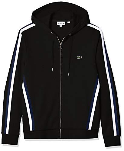 Lacoste Men's Long Sleeve Striped Regular FIT Sweatshirt, Black, Medium (Ribbed Striped Sweatshirt)