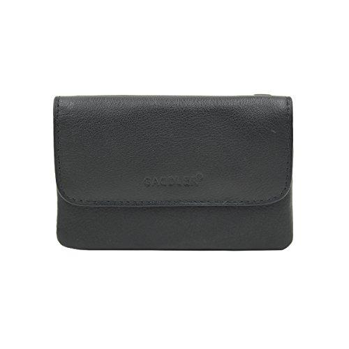 Leather Triple Gusset Flap - SADDLER Womens Soft Nappa Leather Triple Gusset Coins and Key Flap Purse - Black