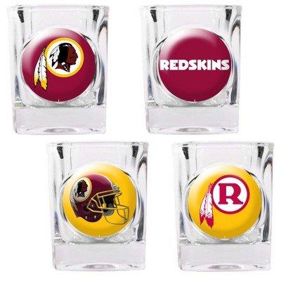 Washington Redskins - 4 Piece Square Shot Glass Set w/Individual Logos