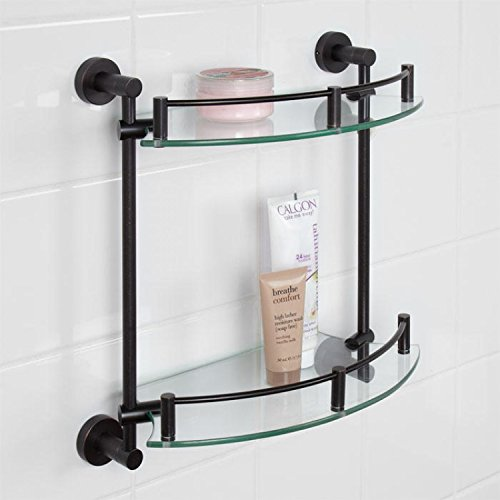 Naiture Tempered Glass Shelf - Two Shelves in Oil Rubbed Bronze Finish by SH