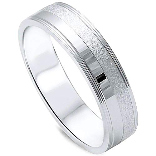 5mm S11 Wedding Bands Rings - Oxford Diamond Co Men's 5mm Brushed Finish Wedding Band .925 Sterling Silver Ring Size 11