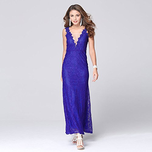 Vestido Blue Mujer Vestir Vestidos Paquete Señoras Vestido JIALELE Fiesta Halter Compacto Collar Fiesta Encaje Mujer Hip V De Para 6UOwzqn0