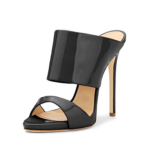 FSJ Women Versatile Open Toe Mule Shoes Feminine Slingback Stiletto Sandals Size 4-15 US Black Patent 8ZGY6