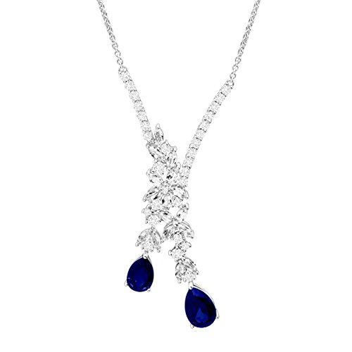 5 3/4 ct Blue & White Created Sapphire Garland Drop Necklace in Sterling Silver by Finecraft