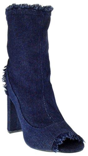 Foever Sherry 16 Womens Freyed Denim Peep Toe Chunky Heel Booties Dark Blue 9