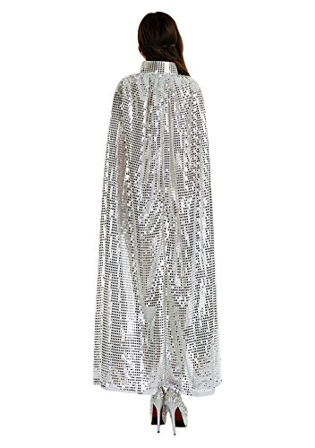 Silver Cape Costume (Adult Women Long Maxi Paillette Cosplay Cape Halloween Xmas Party Sequins)