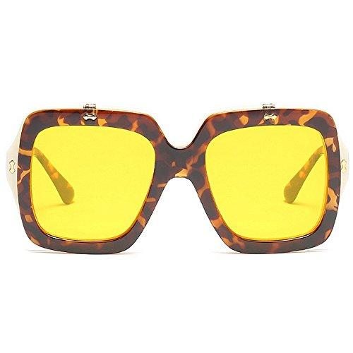 vacaciones cuadrado de conducir Protección aire de mujer estilo gran sol de abatible sol Peggy Gafas de Color para Gafas tamaño Personalidad libre playa Gu al de verano color de Amarillo Amarillo marco UV qcwEc4vFa