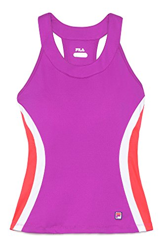 Fila Center Court Halter Tank Top, Purple Cactus Flower/Fiery Coral/White, X-Small ()