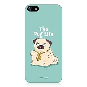 "Head Case Designs - Carcasa para Apple iPhone 5S, diseño de perro con texto ""The Pug Life"", color azul"