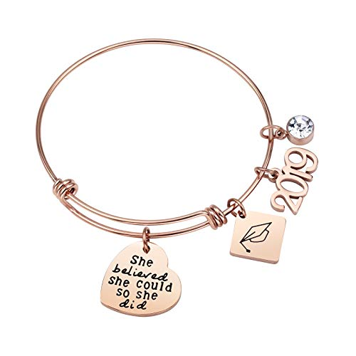 ivyAnan Jewellery Inspirational Gift for Women Girls 2019 Graduation Jewelry Bracelet Engraved She Believe She Could So She Did]()