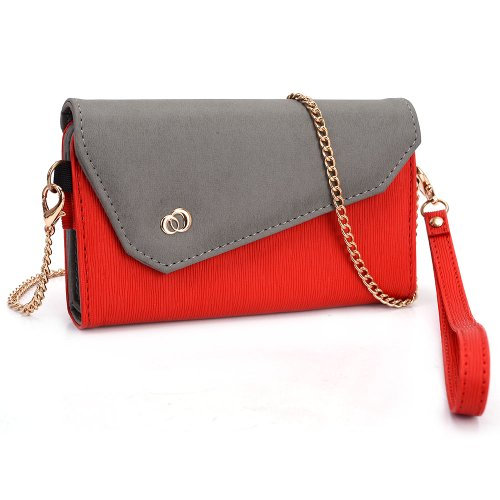 kroo-womens-clutch-wallet-for-smart-phone-with-shoulder-straps-red-and-grey
