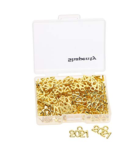 Shapenty Mini Metal Year Signet 2021 DIY Pendant Charms Accessory Bulk for Bracelet Necklace Earrings Keychain Tassels Crafting Jewelry Making Christmas Graduation Party Decor, 100PCS (Gold, 2021)