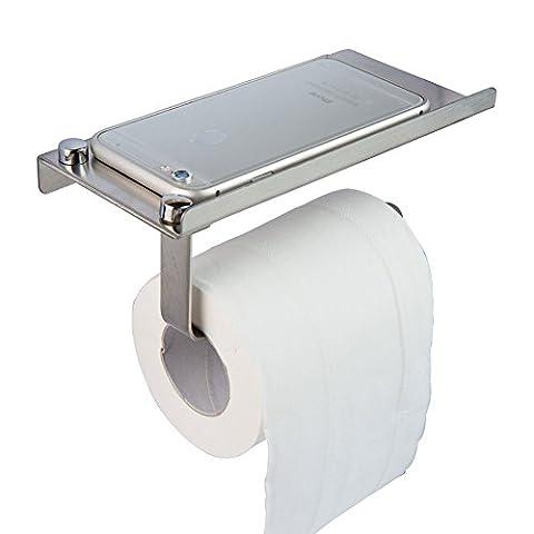 Wall Mount Toilet Paper Rack 304 Stainless Steel Bathroom Toilet Paper Holder with Placing Plate Phone Shelf Bathroom Mobile Phone Towel Rack Toilet Paper Holder Tissue - Nickel Recessed Toilet Paper Holder
