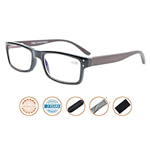 Reduces Eyestrain,Anti Blue Rays,UV Protection,Wood Temple,Computer Reading Glasses(Black) without Strength