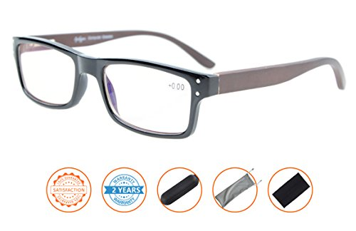 Reduces Eyestrain,Anti Blue Rays,UV Protection,Wood Temple,Computer Reading Glasses(Black) - Temples Wood