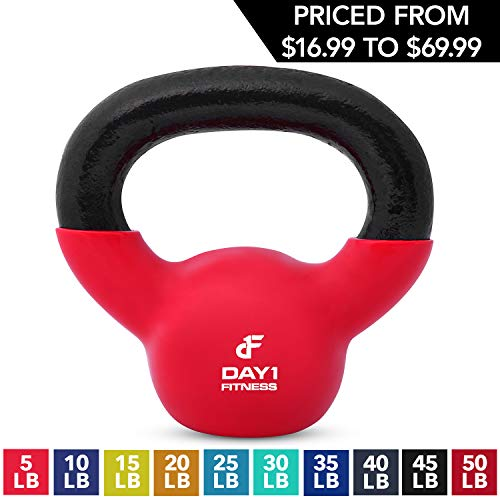 Kettlebell Weights Vinyl Coated Iron by Day 1 Fitness- 5 Pounds - Coated For Floor and Equipment Protection, Noise Reduction - Free Weights For Ballistic, Core, Weight Training