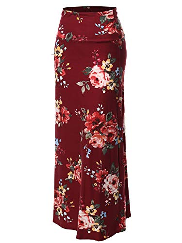Stylish Fold Over Flare Long Maxi Skirt - Made in USA Burgundy Floral M