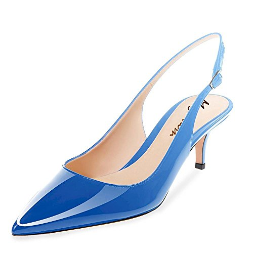 Leather Shoes Slingback (Maguidern Kitten Heel Sandals, Patent Leather Pointed Toe Slingback Low Heel Metal Buckle Pumps Shoes Blue Gradient Heels Size 10)