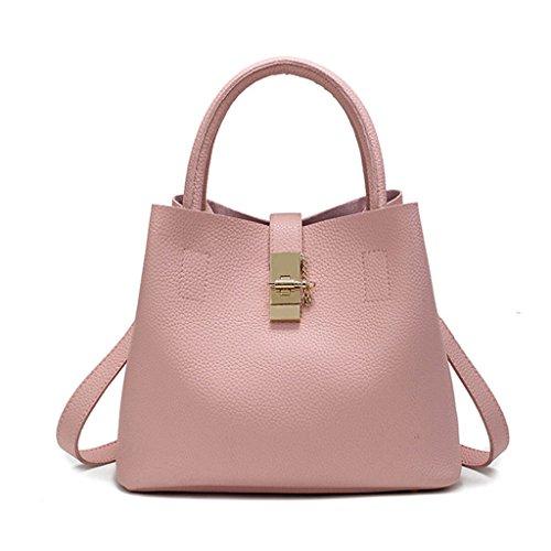 Bolso Diagonal Portátil de Las Mujeres - Bolso del Cubo de la PU un Bolso del Hombro Compras Tamaño del Recorrido: 31 * 23 * 18CM Pink