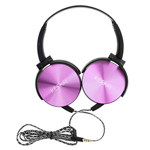 Mchoice Sony Smartphone Bass 3.5mm Earphone Headset Headwear Wired Stereo PC Mic (Purple)