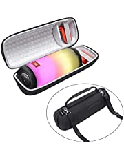 LEADIN Portable Carrying Case Protect Pouch Cover Storage Bag Travelling Case for JBL Pulse 4 Waterproof Portable Bluetooth Speaker (Black Outside with Gray Inside)