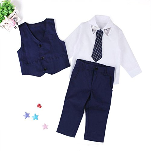 Longra❤ღ☀1Set Ropa de bebé niños caballero trajes camisas + chaleco + largo pantalones + corbata de boda