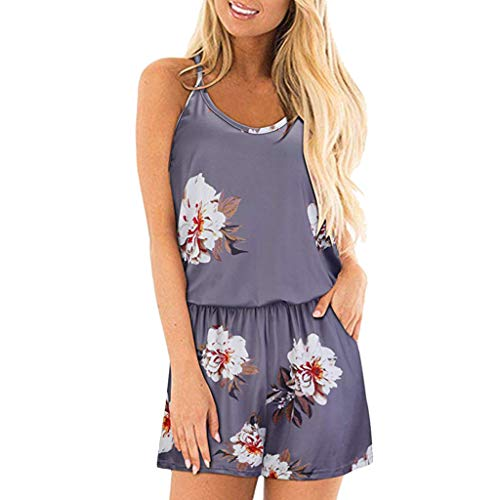 (Sunhusing Women's Sleeveless Off Shoulder Spaghetti Strap Print Jumpsuit Drawstring Lace-Up Shorts Romper Gray)