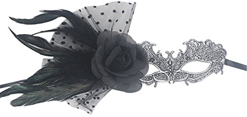 Half Masquerade Mask With Feather for Women Black (Lady Costume Mask)