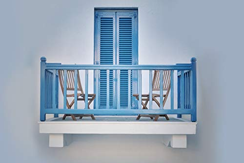 (Blue Balcony and Wood Chairs (12x18 SIGNED Print Master Art Print w/Certificate of Authenticity - Wall Decor Travel Poster))