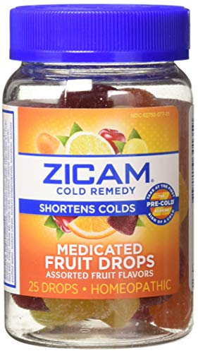 Zicam Cold Remedy Medicated Fruit Drops, Assorted Fruit, 25 Drops (Pack of 2) Homeopathic Cold Remedy, Clinically Proven to Shorten Colds When Taken at The First Sign of Symptoms