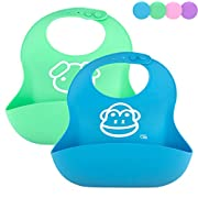 OBB Soft Silicone Baby Bib | Set of 2 (Blue/Green)