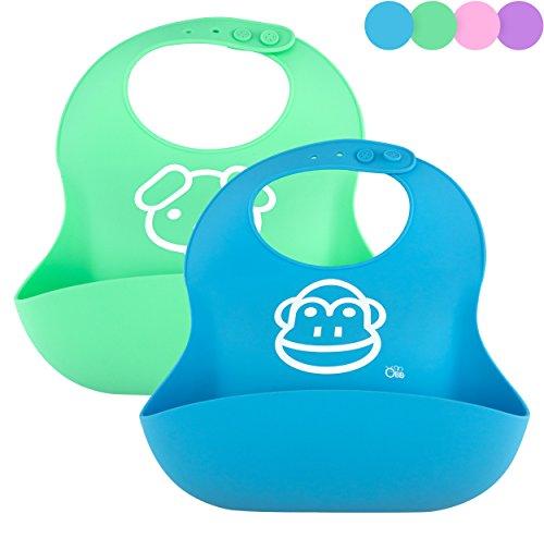 OBB Soft Silicone Baby Bib   Set of 2 (Blue/Green) (Baby Soft Bib)