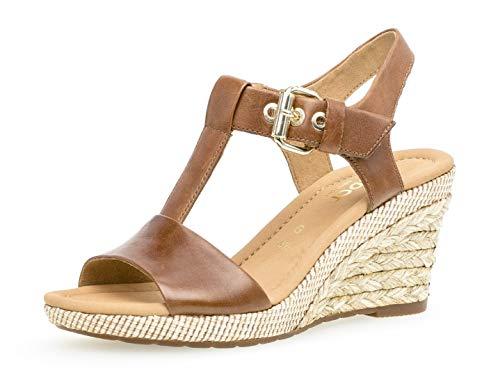 sandales 824 chaussures Peanut confortable 22 plat Compensées Femme D'été bast Gabor qAOp5