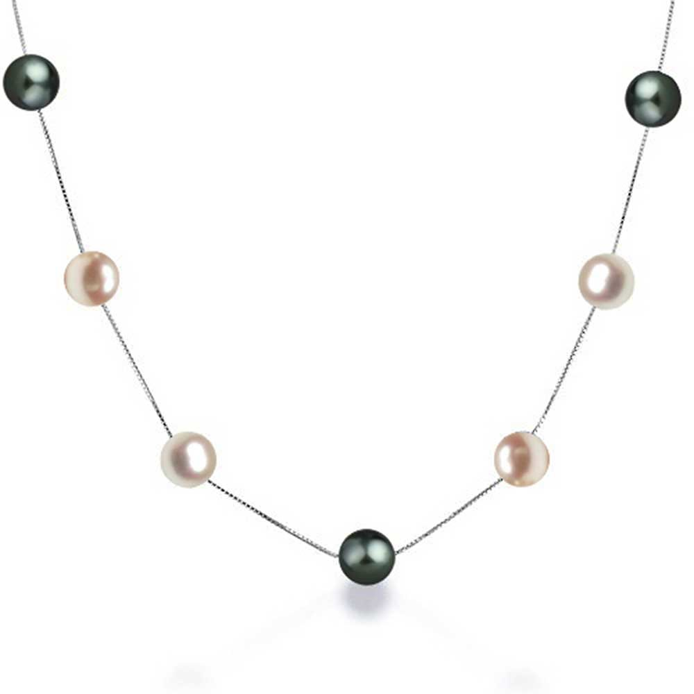 Multi Color Freshwater Cultured Pearl Tin Cup Sterling Silver Necklace 16 Inches
