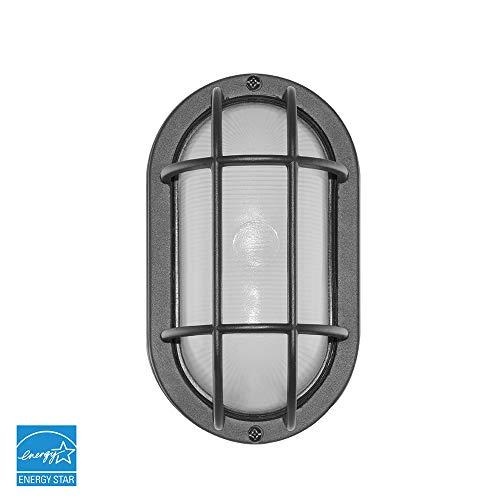 Euri Lighting EOL-WL13BK-2050e Bulkhead Outdoor Integrated LED Wall Light, 434 Lumens, 5000K Cool White, Energy - Bulkhead Outdoor Wall