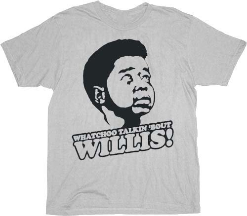 Different Strokes Gary Coleman Arnold Jackson Watchoo Talkin Bout Willis Silver Gray Adult T-shirt Tee (Gary Coleman Tv)